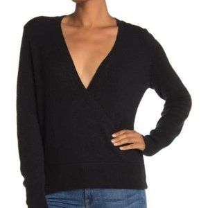 Madewell BNWT faux wrap front black cozy sweater